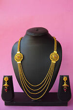 Ethnic Indian Bollywood Gold Plated Fashion Jewelry Polki Long Necklace Set