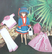 Vintage dolls clothes knitting pattern sindy/barbie robe pull sac chapeau M346