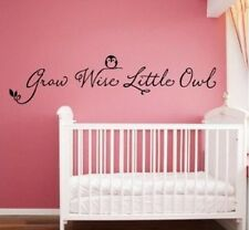 GROW WISE LITTLE OWL Vinyl Wall Decal Words Lettering Children Baby Nursery