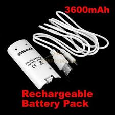 3600mAh Rechargeable Battery Pack for Game Nintendo Wii Via USB Cable White #5