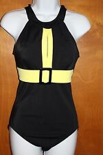 Vintage Style Mod Swimsuit Size 10 Tummy Thinner Black Yellow One Piece Belted
