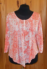 POETRY cream oatmeal coral orange floral 3/4 sleeve tunic top PURE LINEN 14 42