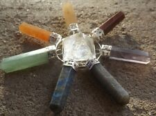 Quartz pyramid with 7 gemstone chakra crystal points ~ energy generator