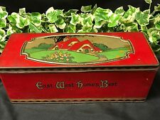 Vintage Art Deco Style C.W.S. East West Home's Best Red And Green Biscuit Tin