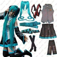 Vocaloid Miku Hatsune Cosplay Costume wig Blouse Skirt Sleeve Rope Stocking