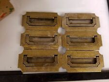 (6) Vintage Antique Brass Recessed Flush Hardware Handle Drawer Pulls