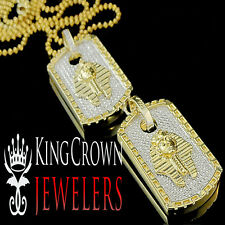 Mens Real Diamond Double Dog Tag Pharaoh King Tut Pendant Charm 10K Gold Finish