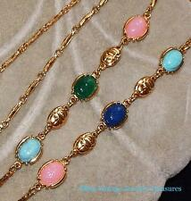 Vintage Multi Color Scarab Gold Tone Necklace