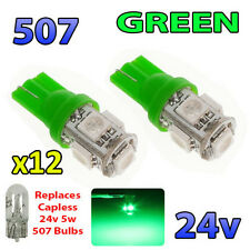 12 x GREEN 24v Capless Side Light 507 501 W5W 5 SMD T10 Wedge Bulbs HGV Truck