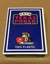Modiano Jumbo Blue Texas Poker Hold Em' 100% Plastic Italian Playing Cards
