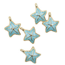 5x Blue Enamel Gold Plated Starfish Animal Findings Alloy Pendant Charms Lots FW