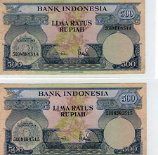 Indonesia 500rp  Banknote 1959  Rare 2pcs Running number