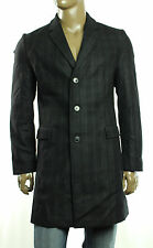 New Mens Hugo Boss Migor2 Virgin Wool Blend Charcoal Cheked Over Coat 42 R 52 EU