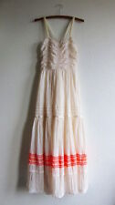 Free People M Embroidered Gauze Maxi Dress Mexican Wedding Gown Eyelet Tiered