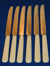 vintage LOT 6 ancien COUTEAU inox FRANCE knife MESSER art deco plastic 1960-1970