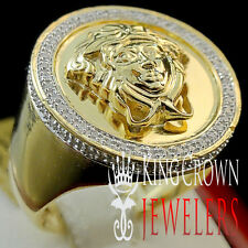 Mens Real Diamond Medusa Statement Pinky Ring Round Pave 10K Yellow Gold Finish