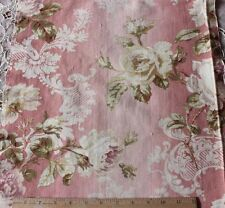 "French Victorian Roses & Scroll Home Dec Fabric On Pink Ground c1870-80~3yLX15""W"