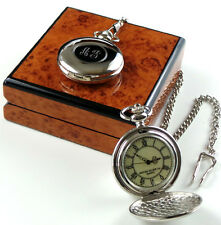 PERSONALISED 2 MONOGRAM Silver Plated Pocket Watch CUSTOM Engraved Initials