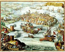 Antique View of Venetian Conquest of Nafplion Peloponnese Greece Greek 2 Posters