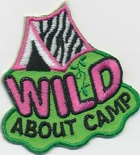 Girl Boy Cub WILD ABOUT CAMP FUN Patches Crests Badge SCOUT GUIDES Camping trip