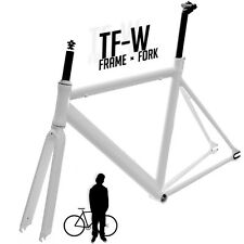 Track Fixie Road Bike Frame with Fork White 56cm