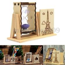 Wood Sand Glass Hourglass Timer Clock w/ Pen Holder Home Office Decor Xmas Gifts