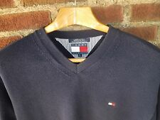 1990's Vintage Tommy Hilfiger Blue V Neck Sweater Preppy Frat (M)