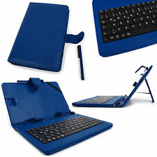 "Blue Faux Leather 7"" Case With Micro USB German Keyboard For Google Nexus 7"