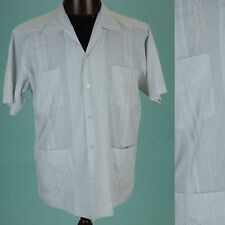 VTG Guayabera Mexican Wedding Ivory  Embroidered button up shirt Sz 42