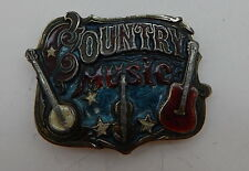 Country Music Enamel & Pewter Belt Buckle The Great American Buckle Co. 1982 R11