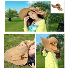 New Stylish Wide Large Brim Floppy Women Summer Beach Straw Hat Cap with Big Bow