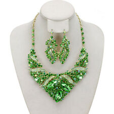 Green Crystal Rhinestone Necklace Earring Jewelry Set Wedding Bridal Prom Party