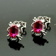 9ct White Gold Ruby Stud Earrings - Leatherette Boxed-Made in the UK