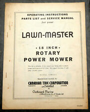 1950's CTC Canadian Tire Lawn-Master 8SH12C Lawn Mower Owner's Manual Canada