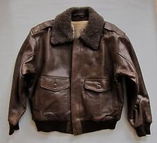 Men's Brown Leather Bomber Jacket Medium Sherpa Collar Vtg 90's Arizona Distress