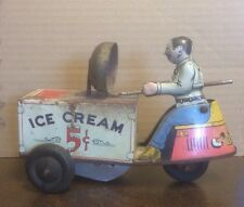 VINTAGE COURTLAND ICE CREAM CART W/DRIVER TIN TOY WIND UP 1940's READY 4 RESTORE