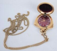 Vintage Collectible Gold-Plated Women's Mechanical Necklace Jewel Watch Zaria