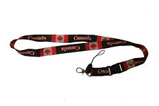 CANADA BLACK COUNTRY FLAG LANYARD KEYCHAIN PASSHOLDER .. NEW