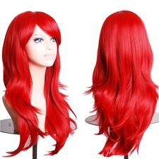 Women Long Wig Wavy Layer Cosplay Party Dress Heat Resistance Synthetic Wigs RED