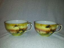 """Lot of 3 Nippon tea cup """"Lake Cottage Sunset"""" pattern? Hand painted, Gold Trim"""