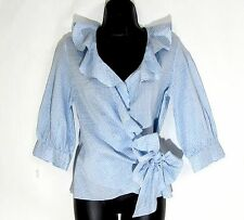 WORTH NY Wrap Top Blouse XS 0 linen silk ruffle 3/4 sleeve blue white seersucker