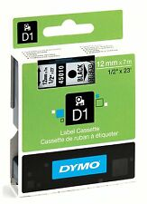 Dymo D1 45010 Black on Clear S0720500 12mm x 7M Label Cassette Original Genuine