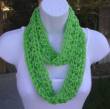SUMMER SCARF Solid Bright Neon Lime Green, Small, Skinny, Infinity, Crochet Knit