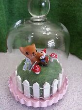 Cutest Miniature Gnome Garden Diorama Display In Glass Bell Jar Dome