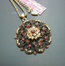 H532G   Betsey Johnson  Crystal Antique  Large Hollow Flower Pendant Necklaces