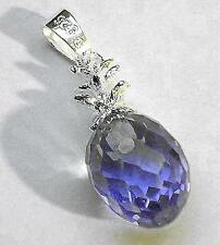 8mm Color Variety Sterling Silver Hawaiian Faceted Crystal Pineapple Pendant