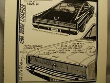 1966 Dodge Charger First one  Auto Pen Ink Hand Drawn  Poster Automotive Museum