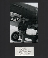 Flying Tigers WWII Lt. Col. Paul Greene Pilot SIGNED CUT MATTED with 5x7 PHOTO