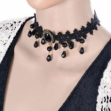 A LADIES GIRLS BLACK LACE &  BLACK PEARL CHOKER NECKLACE. NEW.