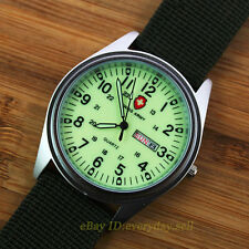 New Green Fabric Canvas Strap Luminous Dial Quartz Swiss Army Style Men's Watch